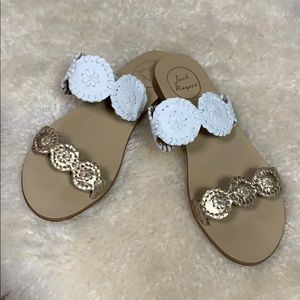 Jack Rogers White and Gold Sandals Size 7.5